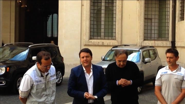 Elkann e Marchionne presentano Jeep Renegade a Renzi