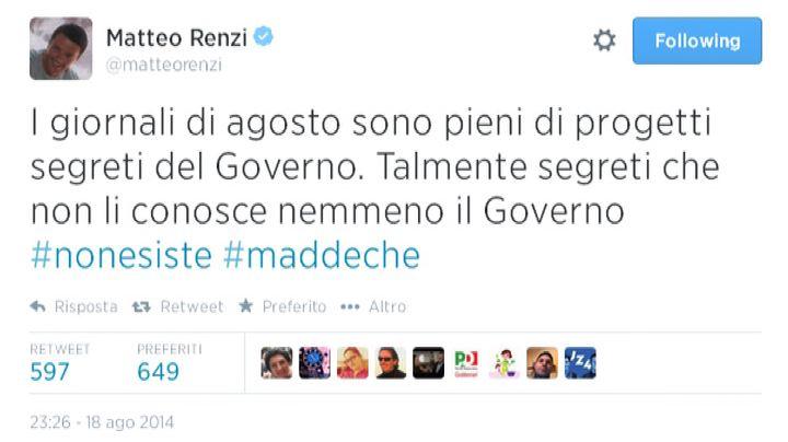 Renzi twitta: piani segreti del governo? Non esiste