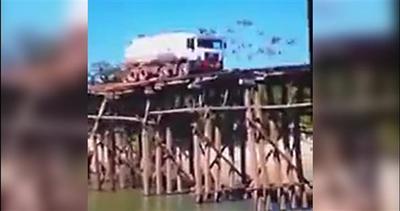 Camion su un ponte traballante, pericolo in agguato