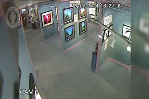 Ladro in azione in una galleria d'arte, prende dipinto ...