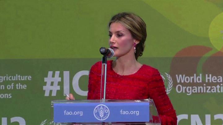 La regina di Spagna Letizia alla Fao per la dieta ...