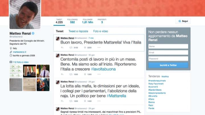 """Il tweet di Renzi: """"Buon lavoro Presidente, viva l'Italia""""  ..."""