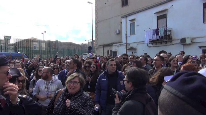 Palermo, manifestazione lavoratori call center Almaviva     ...