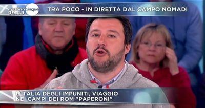 Salvini a Mattino Cinque: raderei al suolo tutti i campi Rom