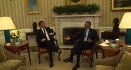 """Renzi alla Casa Bianca, Obama saluta la stampa: """"Buongiorno ..."""