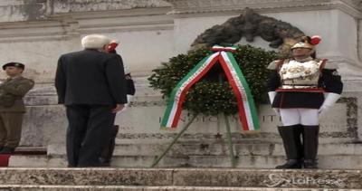 Grande guerra, Mattarella depone corona d'alloro all'Altare ...