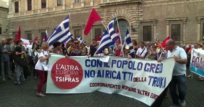 Manifestazione in sostegno del governo Tsipras a Roma