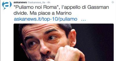 #Romasonoio, tweet di Gassman contro il degrado divide i ...