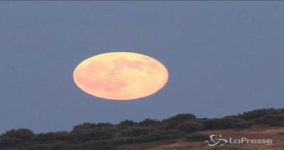 La Luna blu illumina il cielo greco sul Tempio di Poseidone