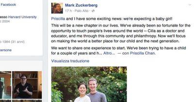 Mark Zuckerberg diventa papà, l'annuncio su Facebook