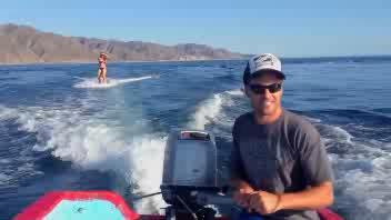Circondata da delfini mentre fa Wakeboard
